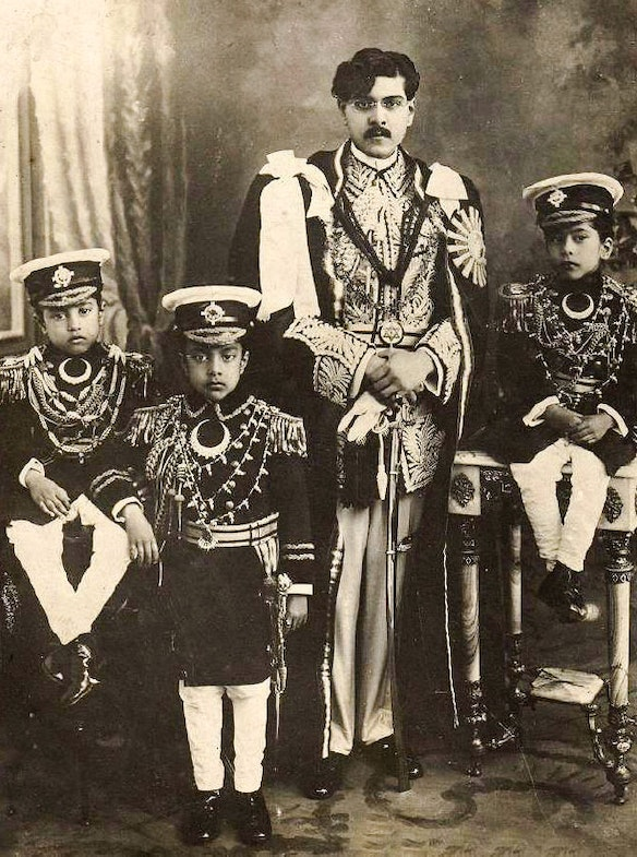 King Tribhuvan Bir Bikram Shah with his sons Mahendra, Himalaya and Basundhara