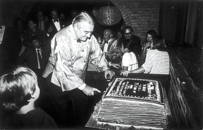 Boris cutting this 75th birthday cake in 1980