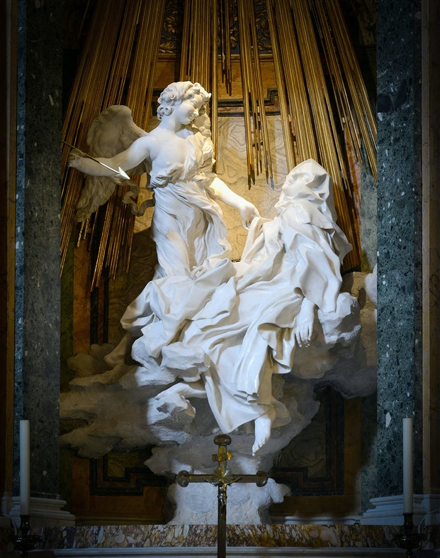 The Ecstasy of Saint Theresa by Giancarlo Bernini. Church of Santa Maria della Vittoria, Rome