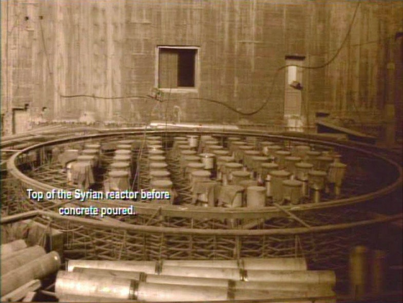 Intelligence photo of the alleged reactor head and fuel channels under construction