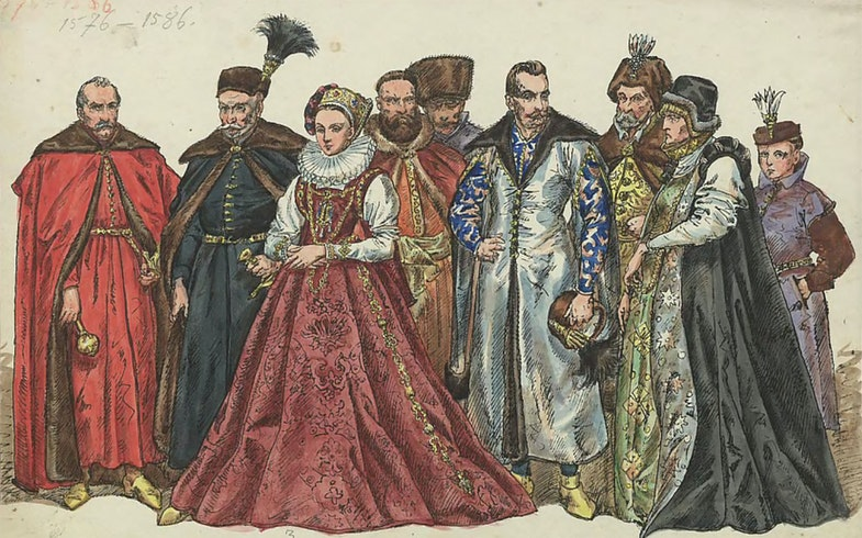 Costumes of magnates, Rech Pospolita, the end of the 16th century, drawing by Yana Mateyko