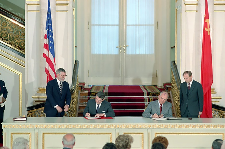 President Reagan and Mikhail Gorbachev at the signing ceremony for the Ratification of Intermediate Range Nuclear Forces INF Treaty