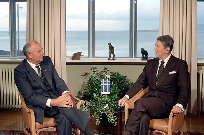 President Reagan meeting with Soviet General Secretary Gorbachev at Hofdi House during the Reykjavik Summit Iceland