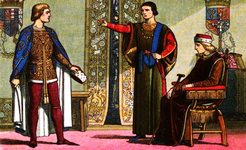 Henry VI sits while Richard Plantagenet, 3rd Duke of York, and Edmund Beaufort, 2nd Duke of Somerset, have an argument.