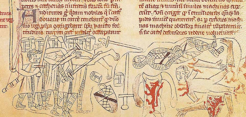 The death and mutilation of Simon de Montfort at the Battle of Evesham, depicted in an early 14th-century manuscript. He met a grisly end, struck through the neck by a lance, and his corpse was then brutally dismembered. His body parts were despatched around the kingdom as a warning to potential rebels