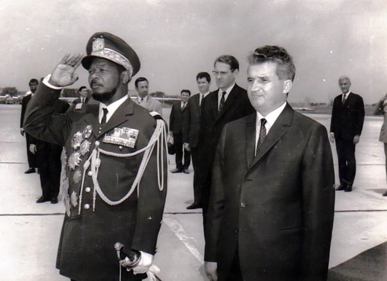 Jean-Bedel Bokassa with Nicolae Ceausescu