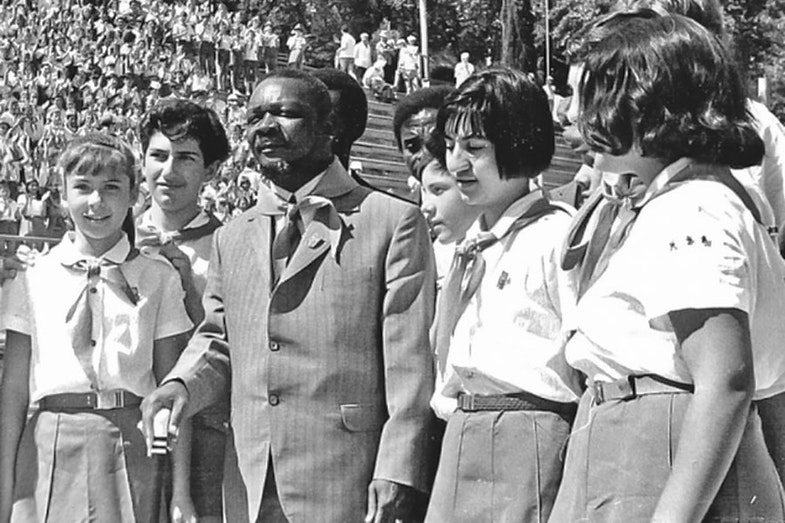 Jean-Bedel Bokassa in the pioneer camp