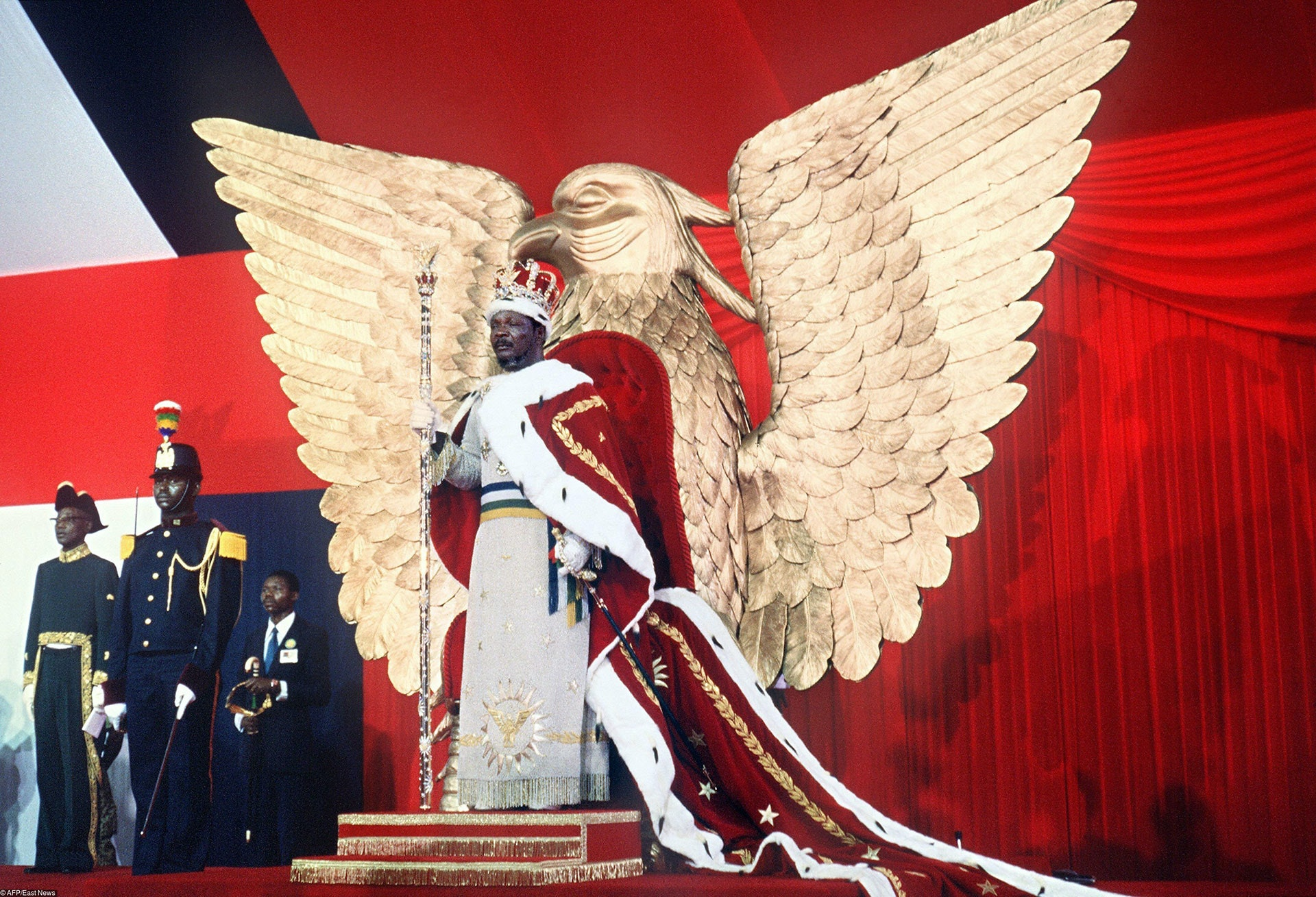 Self-proclaimed emperor of Centrafrican empire, Jean-Bedel Bokassa stands 04 December 1977 on the throne after crowning himself in Bangui, following Napoleon's example