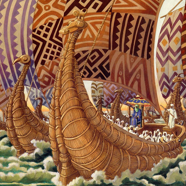 Mansa Abubakari II on his expedition to the Americas