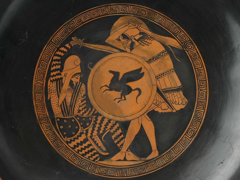 Kylix of pottery decorated in red figure, painted with a hoplite slaying a fallen Persian inside, and a Greek and mounted Persian battle scene outside: Ancient Mediterranean, Ancient Greek, Attic, by the Triptolemos painter, 5th century BC, c. 460 BC