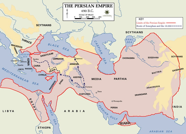Persian Empire, 490 BC, showing route of Cyrus the Younger, Xenophon and the 10.000