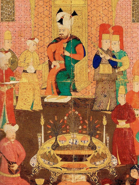 Sultan Murat IV dining with his court