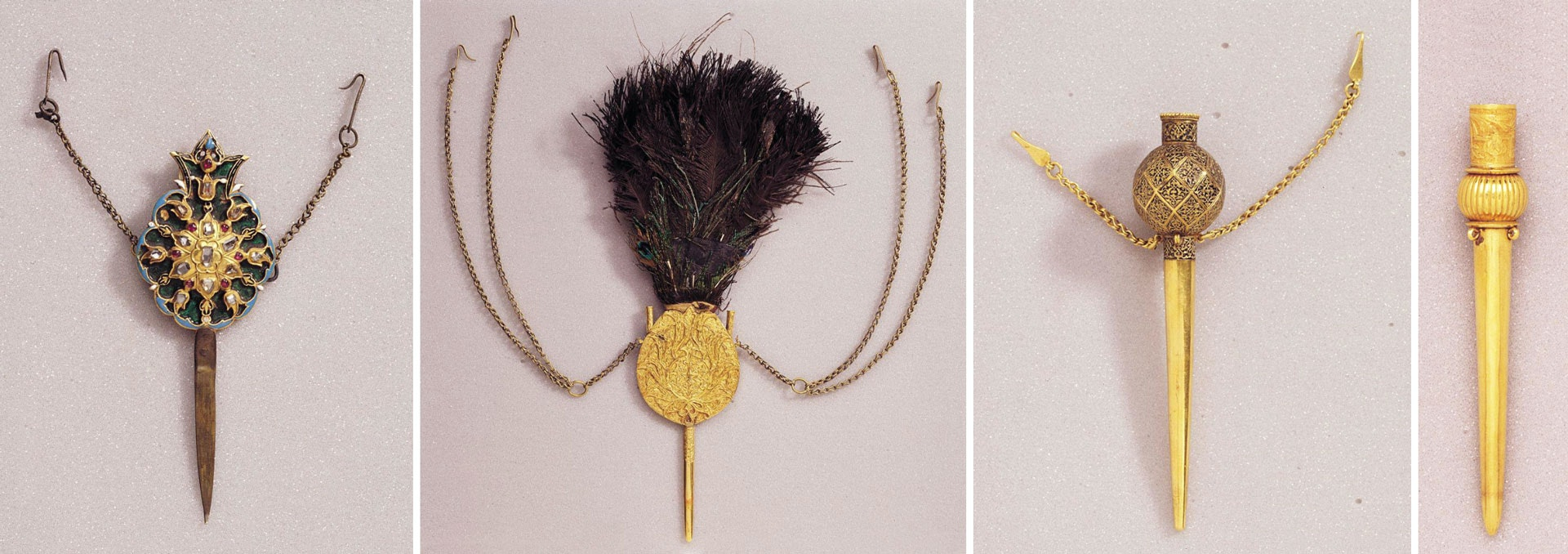 An aigrette is a bundle of ornamental feathers placed in a holder and attached to headgear such as a turban