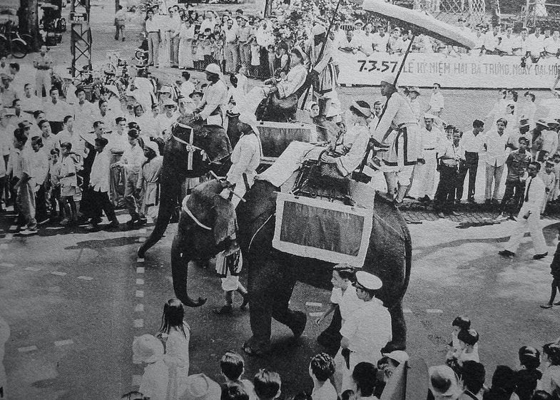 Procession of Elephants in the Hai Ba Trung Parade in Saigon
