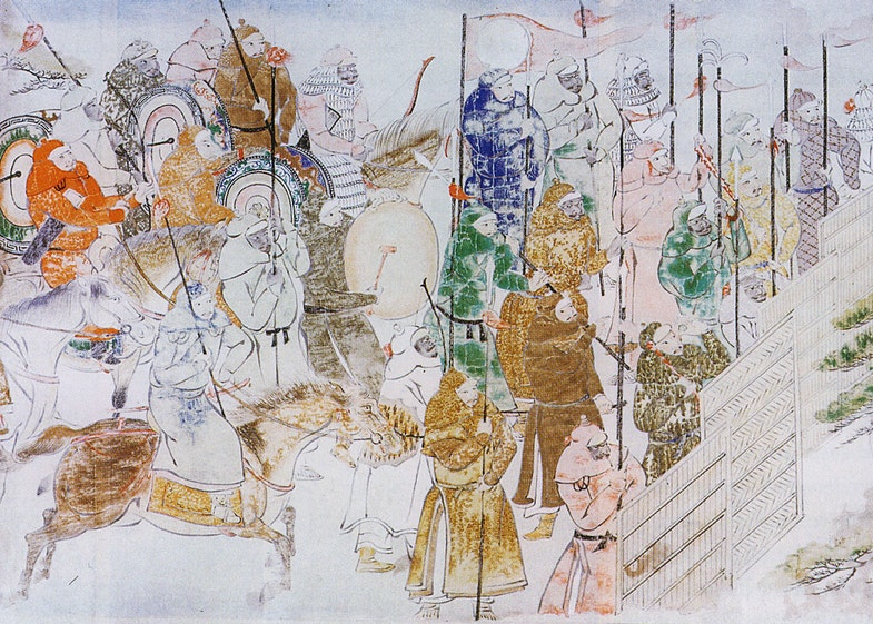 Painting scrolls on the Mongol invasions (Japanese: Mooko shuurai e-kotoba), by Fukuda Taika, 1846 (copy of a 1293 work by an unknown artist). Ink and water colors on paper. Height 47 cm, length of the whole scrolls is 12.12 m (scroll 2) and 11.96 m (scroll 4)