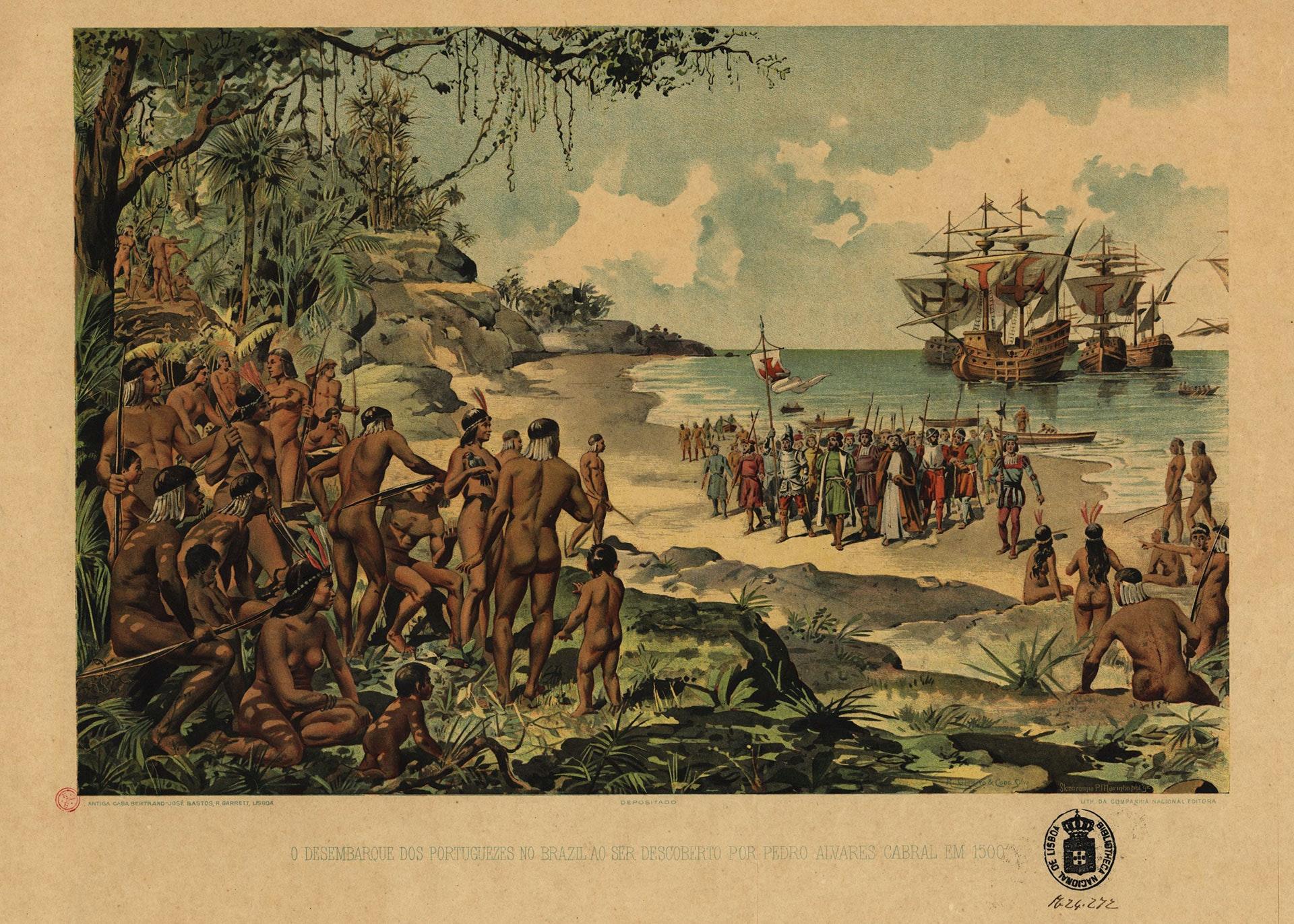 O desembarque dos portuguezes no Brazil ao ser descoberto por Pedro Alvares Cabral em 1500