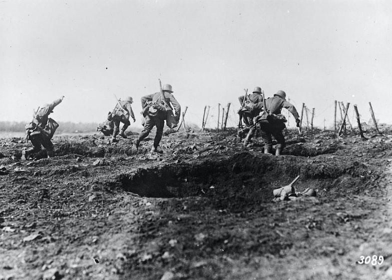 German stormtroopers practising an attack. Sedan, May 1917