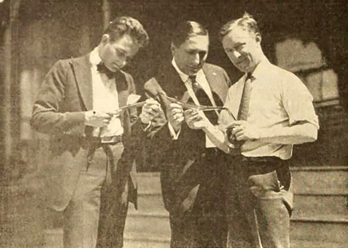 Still with Rudolph Cameron, Louis B. Mayer, and Billy Shea reviewing film from In Old Kentucky (1919)