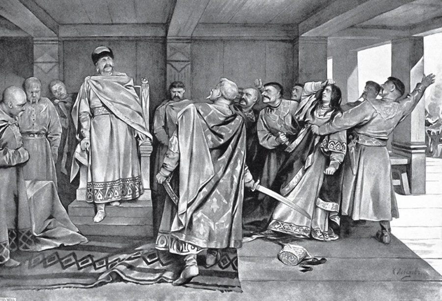 Boyars of Halych hale the witch and lover of Yaroslav Osmomysl to a stake