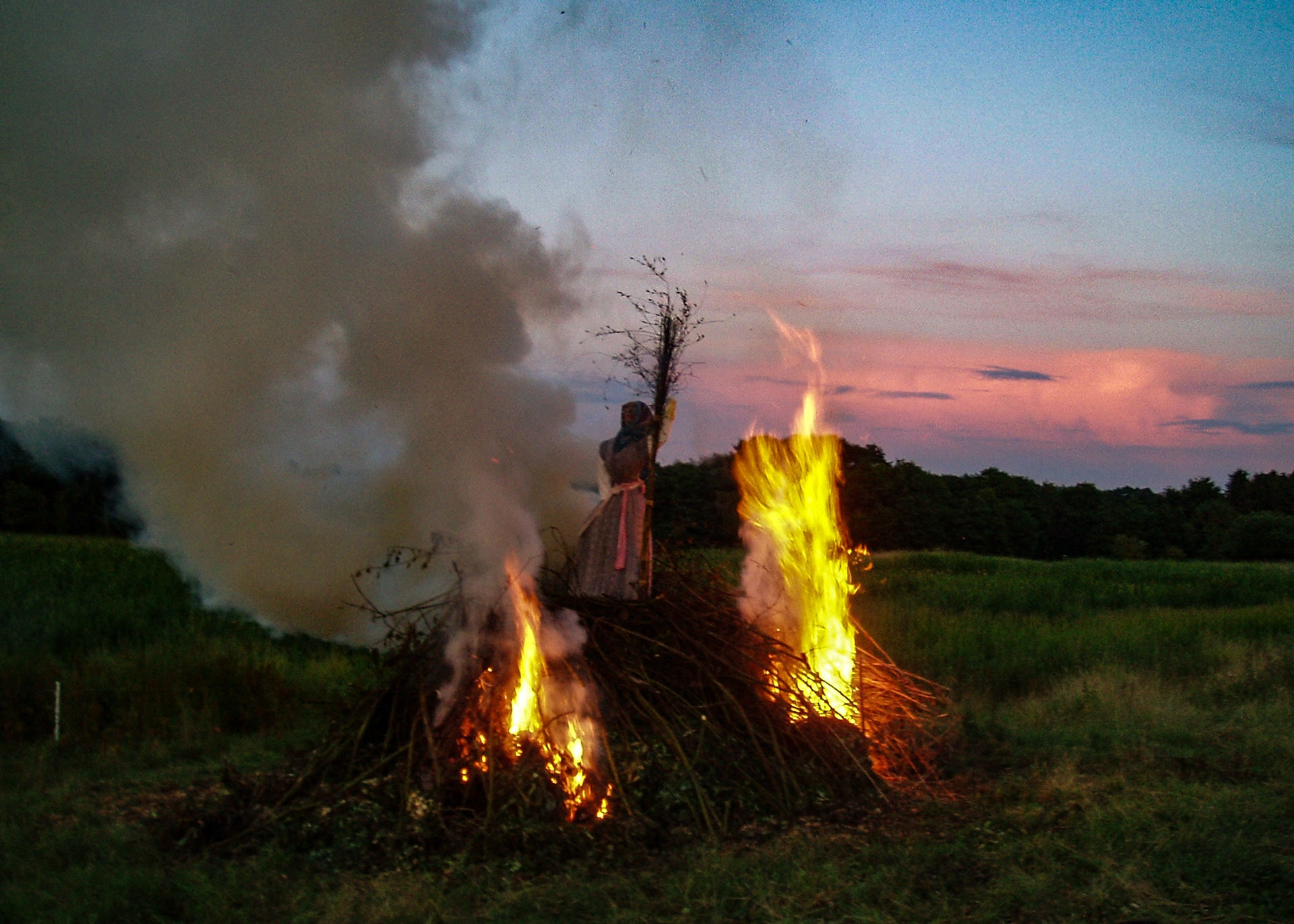 bonfire with the traditional burning of a witch