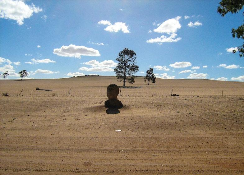 Statue of Prince Leonard at the entry to the Nain township at Hutt River Principality.
