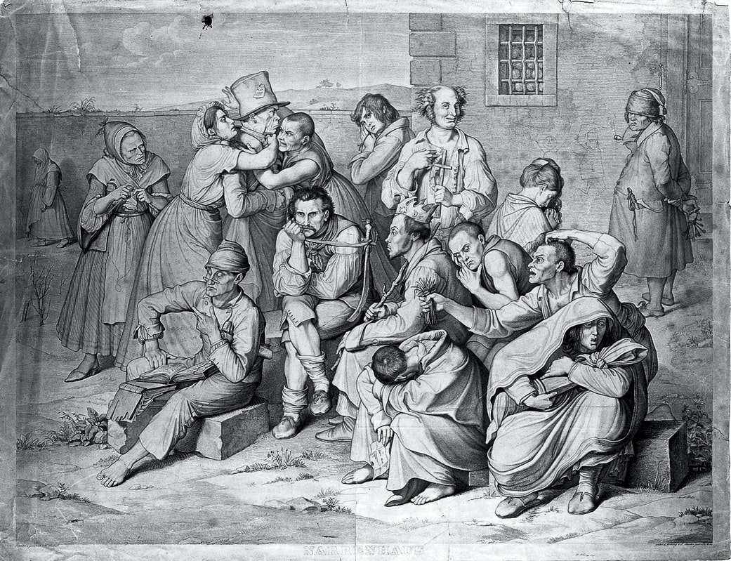 Mentally ill patients in the garden of an asylum, a warden lurks in the background. Engraving by K.H. Merz under the direction of S. Amsler, c. 1834, after W. Kaulbach