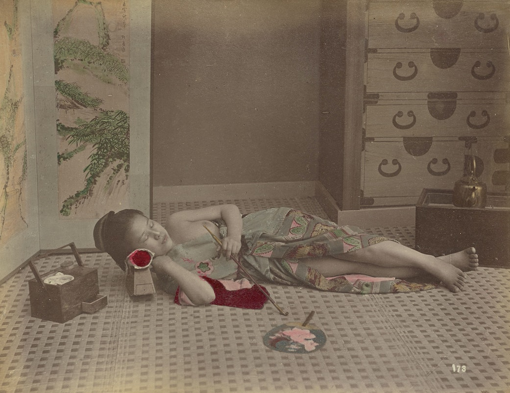 Woman Reclining with Pipe Kusakabe Kimbei (Japanese, 1841 - 1934, active 1880s - about 1912);